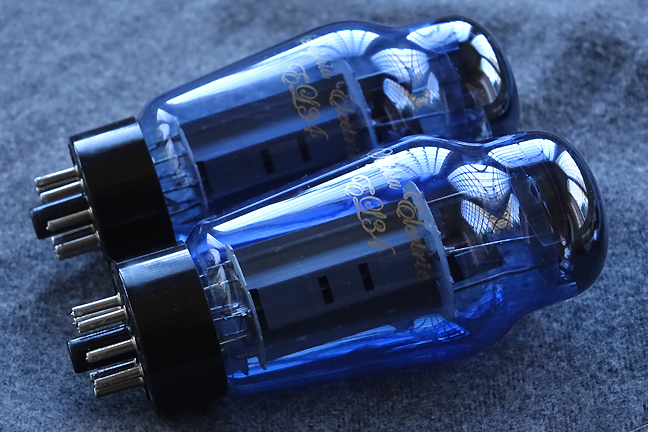Tube: Sophia EL-34 Vacuum Tube with Blue Glass, Matched Pair - Grade A, One Year Warranty